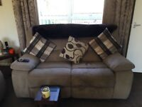 3 piece and 2 piece sofa. Mink in colour, manual recline