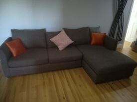 NEXT grey corner sofa with double sofa bed and storage