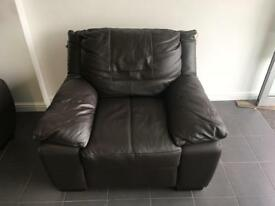 DFS STANDARD ARMCHAIR IN BROWN LEATHER NEW