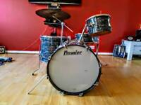 VINTAGE 1969 PREMIER OYSTER FINISH DRUM KIT
