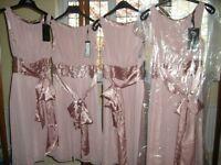 Bridesmaids dress(es), NEW, pink chiffon and satin, size 8