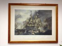 Large Print: Battle of Trafalgar - Hand Coloured Engraving