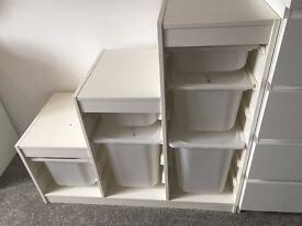 IKEA unit with boxes