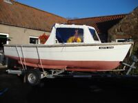 18ft GRP Inshore Sea fishing boat and trailer, 10hp Sabb diesel with cover and many extras.