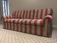 Unusual red and cream/grey striped 3 seater sofa