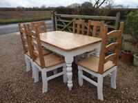 """VINTAGE FARMHOUSE KITCHEN / DINING TABLE (60"""" x 34"""" x 29"""") & 6 CHAIRS ~"""