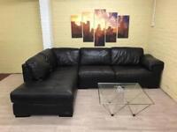 Pristine Condition Brown Leather Corner Sofa
