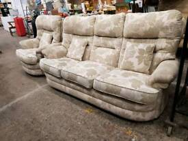 Highback patterned fabric 3 seater and chair