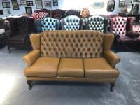 Stunning tan 3 seater highback chesterfield Queen Anne sofa UK delivery