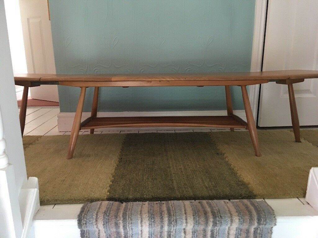 Ercol Drop Leaf Extra Long Coffee Table Original Light Finish Excellent Vintage Condition