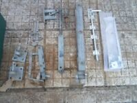 Galvanised gate pins, hinges, latch and drop bolts