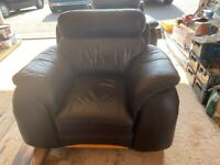 2 x Black Leather Armchairs