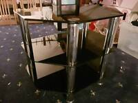 Black glass and chrome tier tv stand
