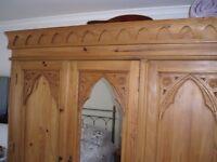 wardrobe for sale ornate design,hanging rail,shelves,ideal for cottage etc......