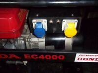 REDUCED GENUINE HONDA EC4000 4 STROKE PETROL GENERATOR