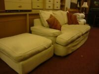 large 2 seater sofa with stool in cream