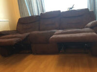 Three seater brown recliner sofa-great condition