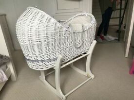 Moses basket wicker mothercare with stand & bedding