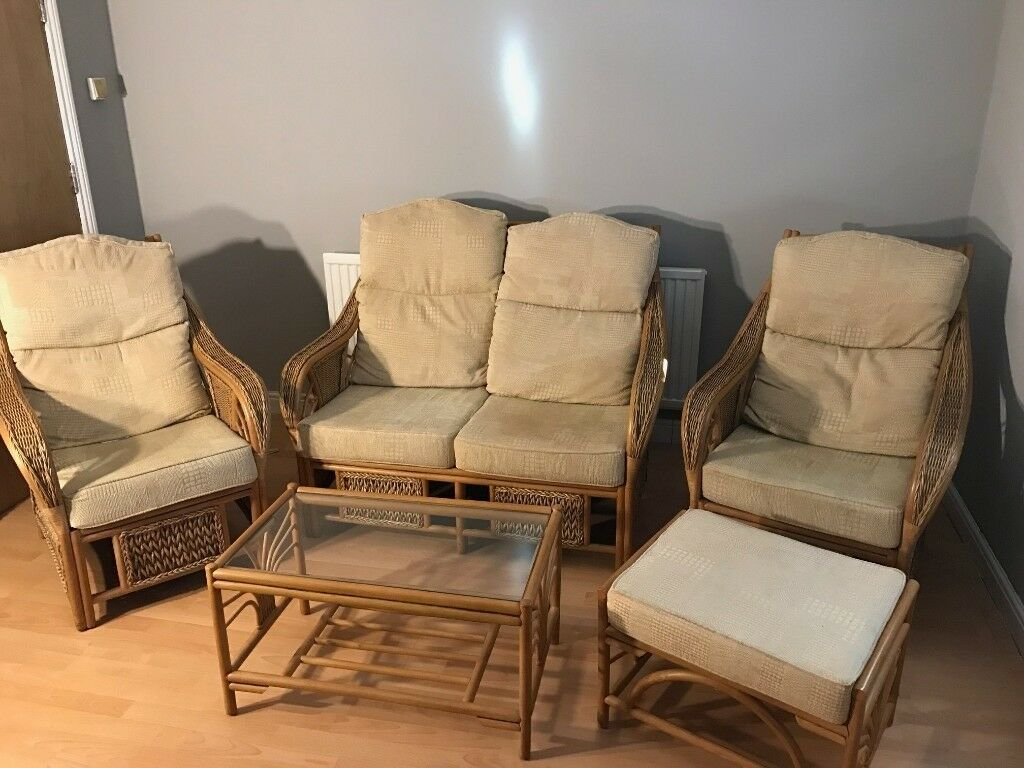 5 Piece Wicker Conservatory Furniture Set Sofa Armchair Stool Table