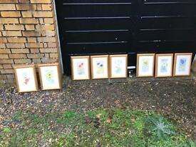 Flower paintings & matching frames 8 in total
