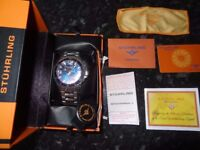 Stuhrling Original Ltd Edition Deep Blue Dial Mens Pro Dive Watch Swiss Quartz 200 Meter Water Resis