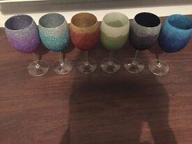 6 x glitter wine glasses