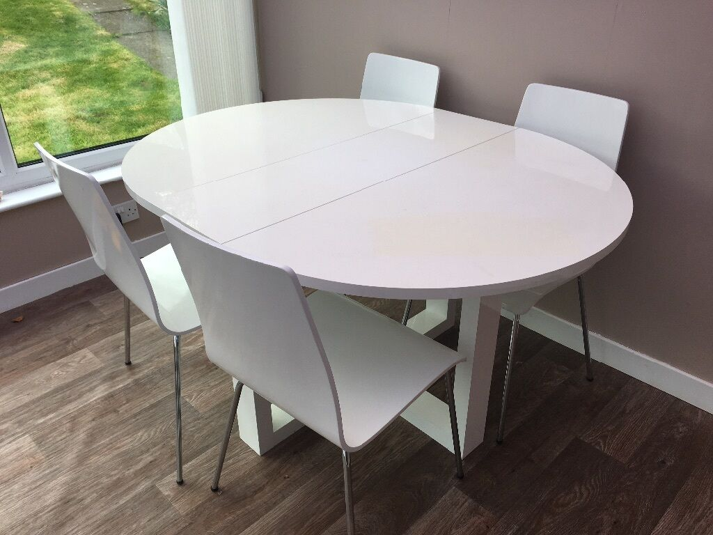 next white high gloss gateleg dining table  four chairs. next white high gloss gateleg dining table  four chairs  in
