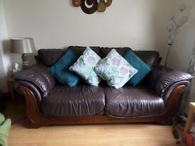 Leather Brown Sofa and 2 chairs