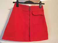 Red Topshop mini skirt, size 8