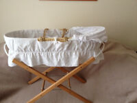 Moses Basket & wooden stand; Broderie Anglais cover