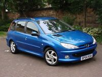 EXCELLENT DIESEL ESTATE!!! 54 REG PEUGEOT 206 SW 2.0 HDi XSi 5dr AC, 1 YEAR MOT, 2 FORMER KEEPERS