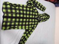 Thin Cloth Casual Hoodie - Green Blocks Pattern - L Size