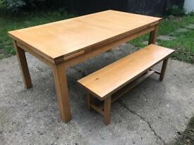 John Lewis Beech extending dining table & bench