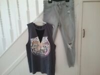 Kids or Women's Jeans and Top, Distressed