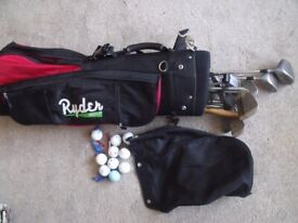 ryder golf bag with cover clubs balls and tees