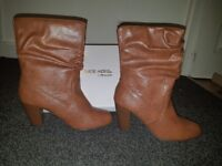 Tan ruched ankle boots size 6 head over heels by Dune