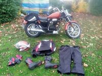 bundle bike riding gear VIRTUALLY UNUSED ARMORED SUIT, 2 HELMET, BOOTS GLOVES