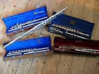 5 flutes, 4 cases -good cases, but all flutes need repair, great for spares -£11 each or 5 for £49