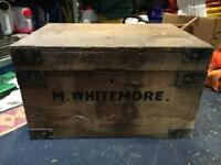 VINTAGE OLD SUITCASE WOODEN STORAGE BOX DELIVERY MOVING WOODEN TRUNK