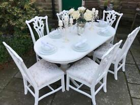 Dining Table & 6 Chairs ~ White & Champagne