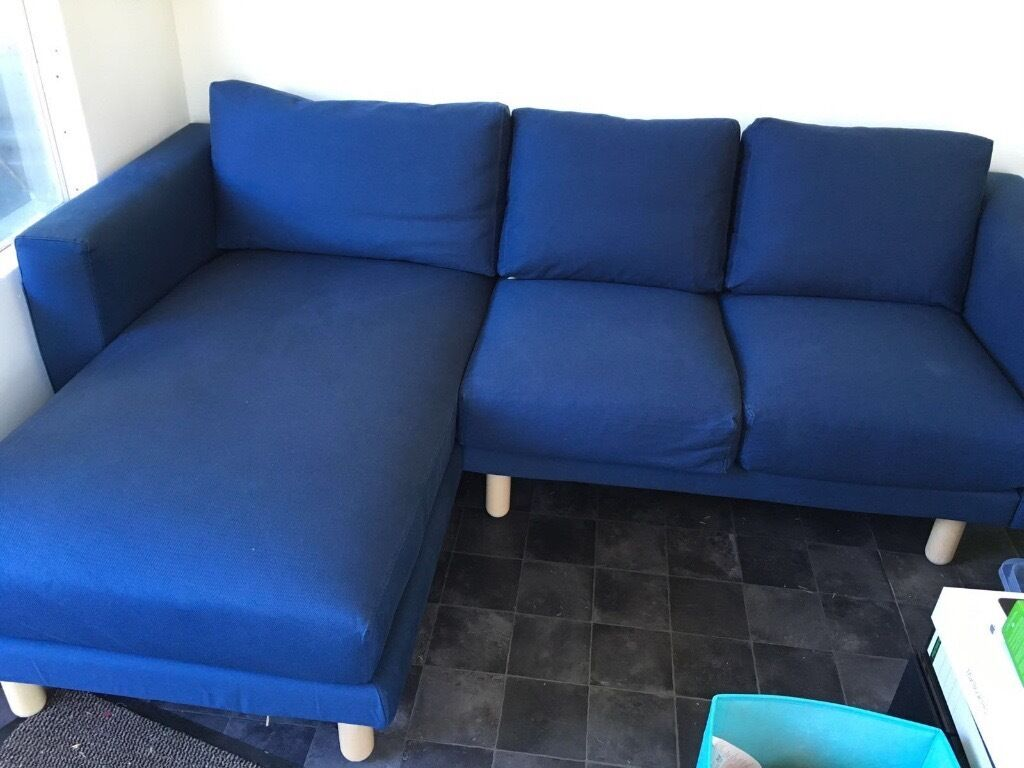 Ikea norsborg two seat sofa with chaise longue dark blue for 2 seater chaise sofa for sale