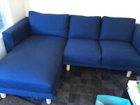 IKEA NORSBORG Two-seat sofa with chaise longue, Dark blue