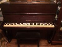 Mahogany Bentley piano with stool- collection only