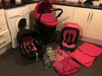 Pink Oyster 3 in 1 Pram, Buggy & Car Seat