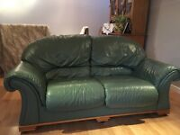 DFS Italian Leather Sage Green Sofas - 3 & 2 Seater
