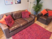 Stylish Habitat Leather Suede 3 Seater Sofa and Armchair Suite