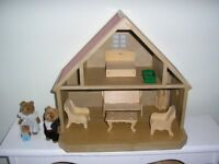 Sylvanian vintage house with dolls house furniture and three bears