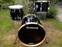 VINTAGE LUDWIG DRUM KIT 20, 14, 12 IN BLACK WRAP (£340)