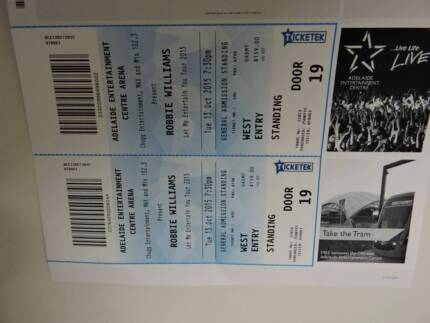 CHEAP ROBBIE WILLIAMS TICKETS (2) - Cost $318 Sell $160 Prospect Prospect Area Preview