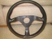 Genuine 1988 Momo Montecarlo 350mm black leather steering wheel